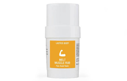 Lastic Body's Pain Relief Melt Muscle Rub. Hand crafted with 100% natural, high quality ingredients like black cumin seed oil and white camphor essential oil, long known for their muscle-soothing effects, ginger and capsicum to gently warm the skin and mint and menthol to cool sore, tired muscles.