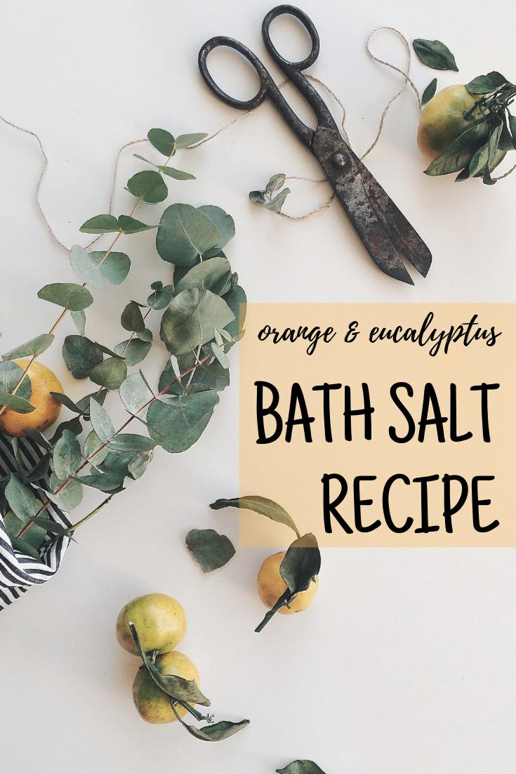Orange Eucalyptus Bath Salts Recipe. Winter can be trying especially with all those nasty cold viruses making their rounds. Help clear your nasal passages and lift your spirits with this homemade orange & eucalyptus bath salt recipe blend. One of the first bath salt recipes I ever made, this natural orange & eucalyptus bath salts recipe is the perfect DIY for beginners! The addition of essential oils add aromatherapy and healing benefits. #bathsalts #winterskincare #essentialoils
