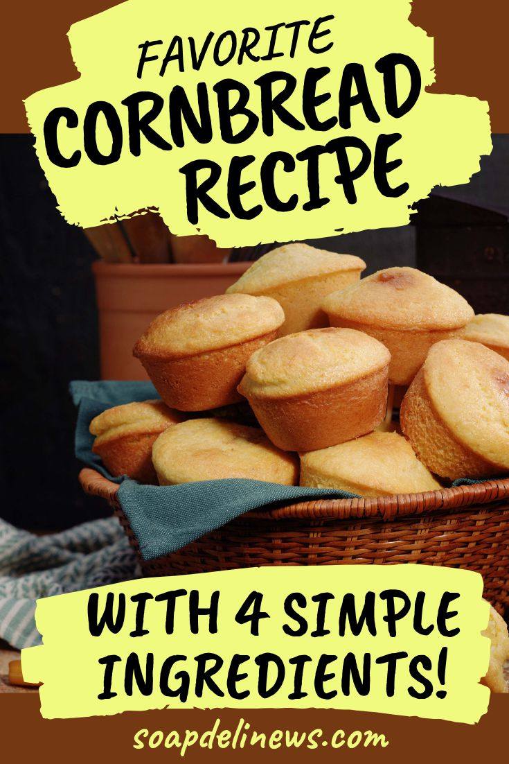 Favorite cornbread recipe. Regular cornbread is fine and dandy, but I like mine best moist and little sweet. Here's my favorite cornbread recipe for a cake like cornbread that will have you and your family coming back for seconds! Made with just four simple ingredients.