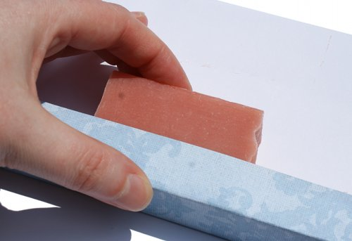 Wrapping handmade soap with scrapbook paper
