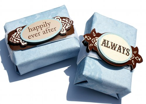 handmade soap wedding favors decorated in blue scrapbook paper, ribbon and decorate 3-d wedding stickers