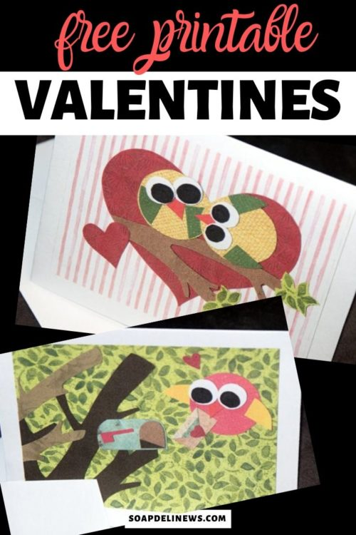 Printable Valentines Day Cards. Tell your special someone just how much you love them with these free printable Valentine's Day cards! I have created two very special love bird note cards that are perfect for sending that romantic note or giving as free printable Valentine's Day cards to your valentine. Created from original art collages, these free printable Valentine's Day cards feature two love birds kissing on a branch and a single bird delivering his own special love letter to a mailbox.