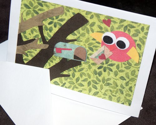 Printable Valentines Day Cards of a love bird delivering a valentine to a treetop mailbox
