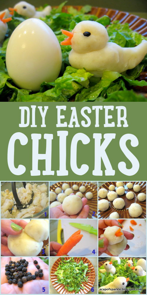 DIY Easter Chicks - It's what's for dinner! Traditionally Easter is a time that families spend together celebrating family as well as the resurrection of Christ. But that doesn't mean Easter has to be entirely a serious occasion. You can add an interesting twist to your Easter dinner this year by crafting these DIY Easter chicks with the kids!