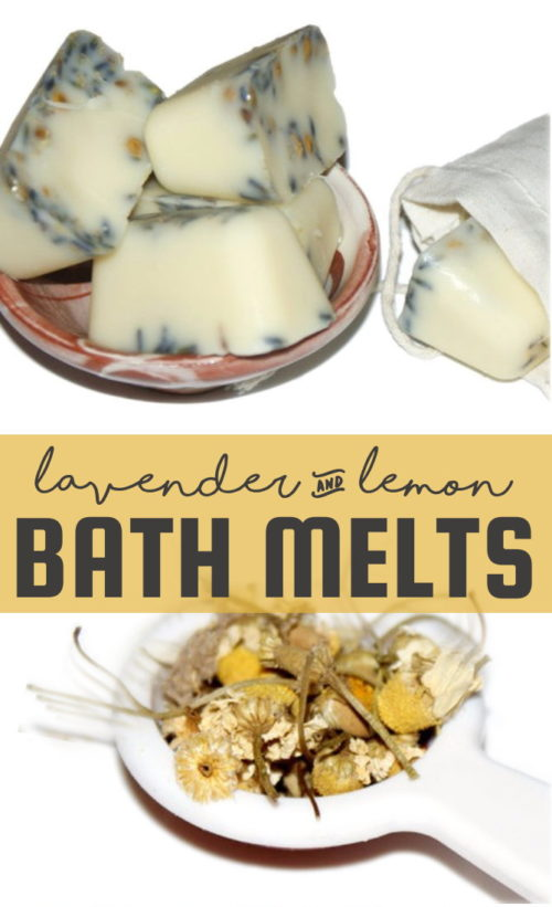 Organic Lemon Lavender Bath Melts DIY! This simple organic lemon lavender bath melts recipe is crafted using organic ingredients and is great for moisturizing skin and lifting your spirits. #bathmelts #diy #spa #skincare #organic #essentialoils #gift #giftidea #easy #recipe #beauty #bath