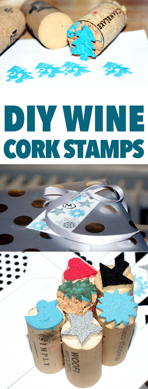 DIY Wine Cork Stamps! Celebrating the holiday season with some delicious wines or maybe a sparkling Moscato? Don't toss those corks! You can use them to carve your own super cute DIY stamps that you can use to dress up your holiday gift tags! #diy #upcycled #wine #winecorks #stamps