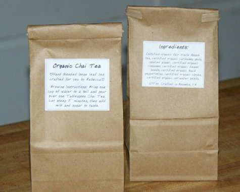 Labeled bags of chai tea mix for DIY holiday gifts.