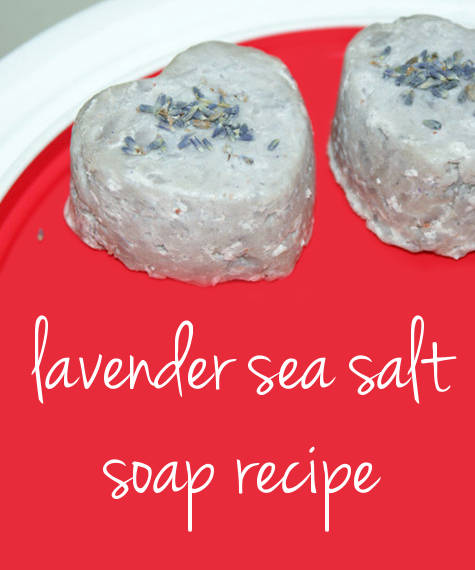 This natural no-lye lavender sea salt soap recipe makes a lovely homemade Valentine's Day gift.
