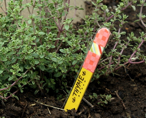 Herb Garden Markers DIY - Upcycled Craft Project Made From Popsicle Sticks and Washi Tape - Easy Craft for Kids and Homemade Mother's Day Gift Idea