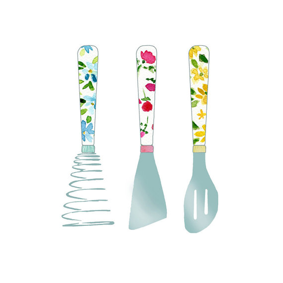 Kitchen Utensils Art Print Illustration by The Joy of Color