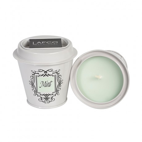 Mint Scented Lafco Candle Tin with Matches that Fit Neatly Into the Lid