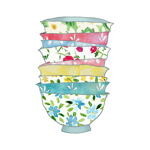Stack of Bowls Art Print for Kitchen Home Decor by The Joy of Color