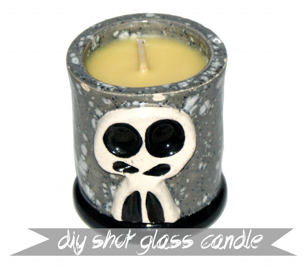 DIY Skully Shot Glass Beeswax Candle - Handmade Father's Day Gift Idea