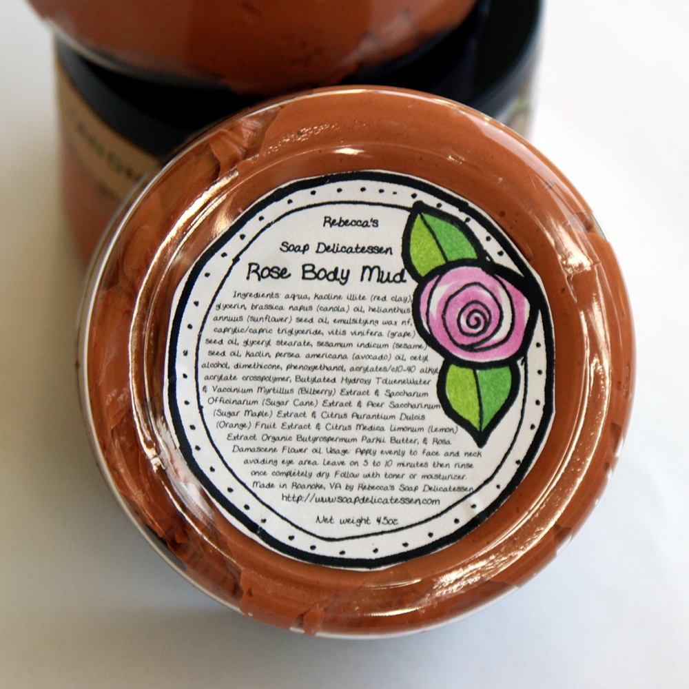 Natural Rose Body and Facial Mud for Normal, Sensitive and Mature Skin - Clarifying and Moisturizing Facial Mask