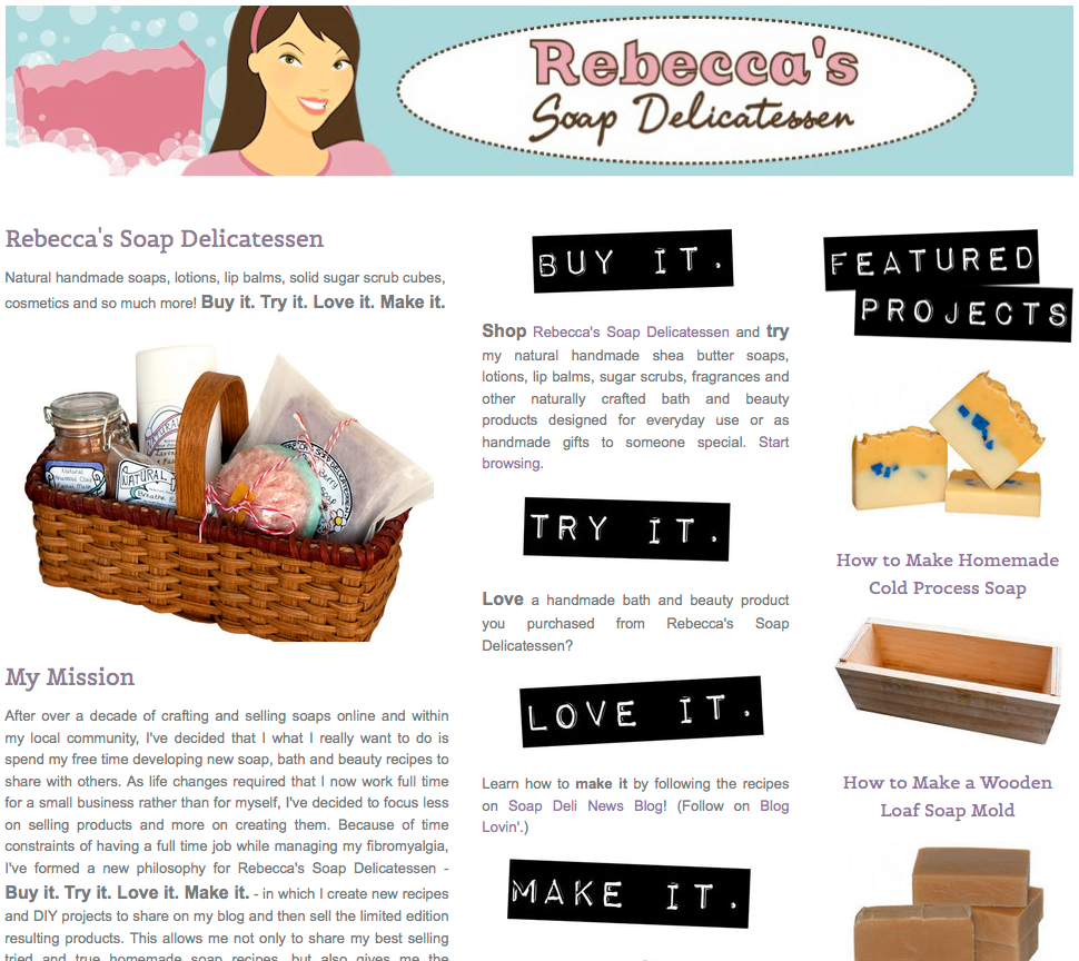 Buy it. Try it. Love it. Make it. Rebecca's NEW Soap Delicatessen where you buy products to try, fall in love with them, then make them from the accompanying recipe!