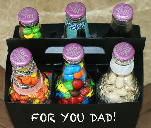 DIY Washi Tape Covered Soda Bottles FIlled with Treats and Snacks for Father's Day