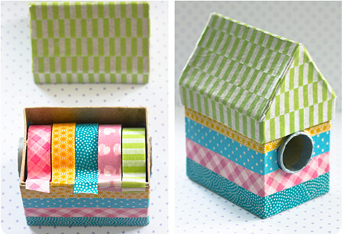 DIY Washi Tape Dispenser Craft Project - Super Cute House Shaped Washi Tape Dispenser You Can Make By Upcycling Household Cardboard Products