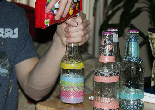 Homemade Father's Day Gift Idea - DIY Washi Tape Decorated Six Pack of Treats