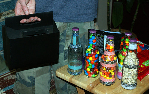DIY Father's Day Gift - Soda Bottle Six Pack Filled with Treats like Candy, Nuts and Coffee Beans