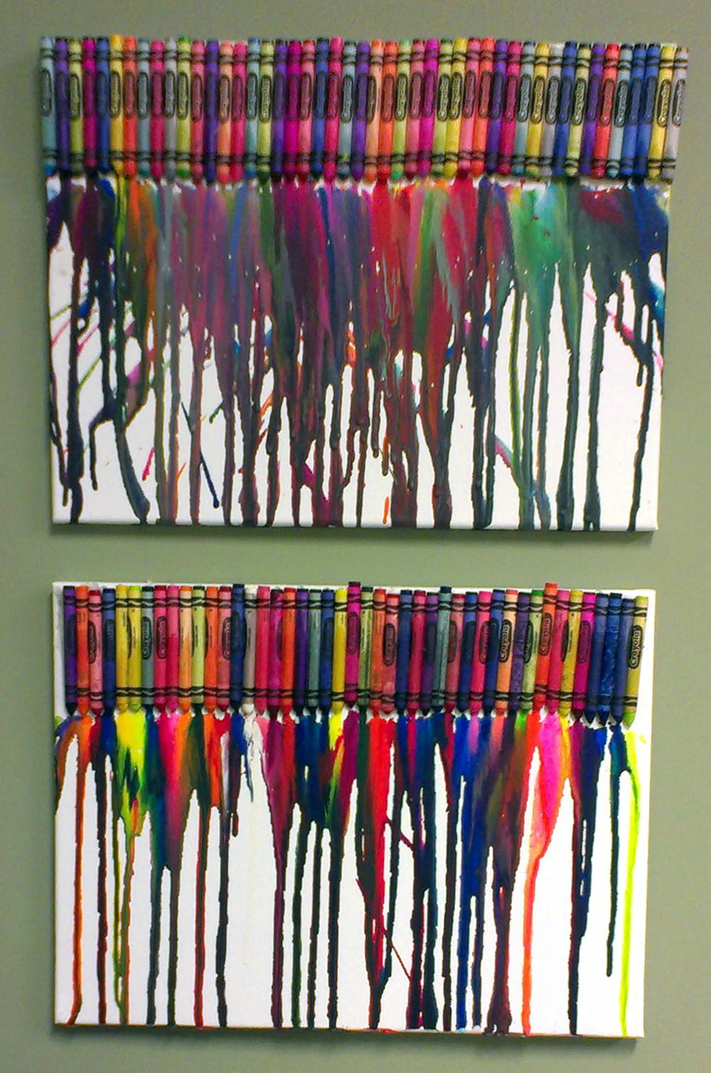 Crayon Canvas Paintings - DIY Art Project for your walls that's both inexpensive and easy