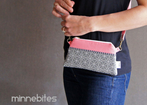 Pink and Gray Handmade Cross Body Purse from MinneBITES