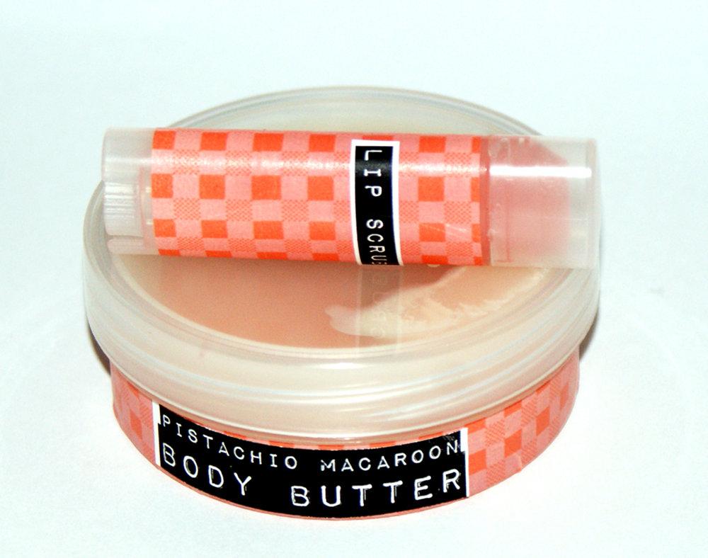 DIY Pistachio Macaron Body Butter Recipe and Flavored Lip Scrub