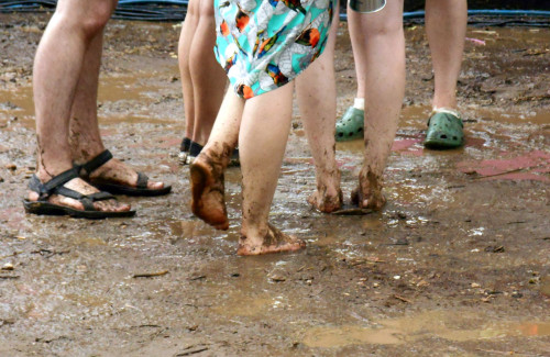 Muddy barefoot dancers in the Pink Floyd Beer Garden at Floyd Fest 12 Rise and Shine 2013