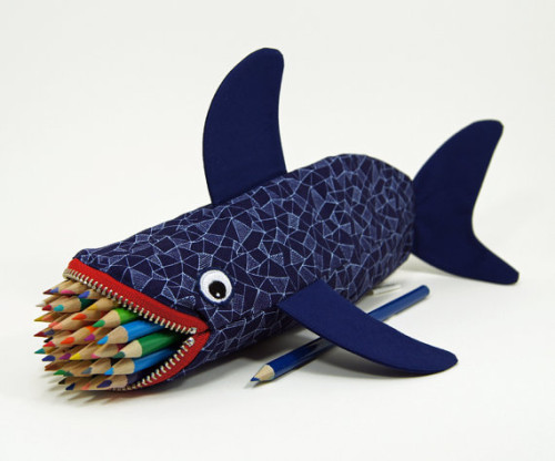 Handmade Back to School Shark Shaped Pencil Holder by MinneBITES