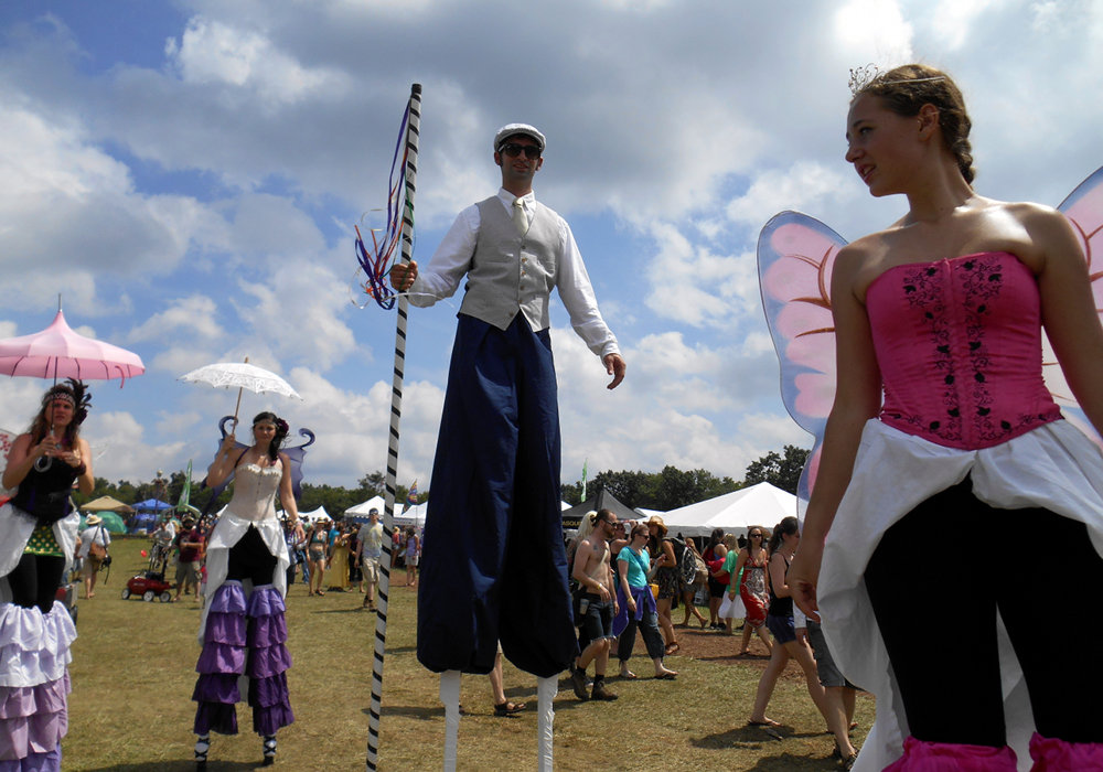 Fabulous fun faerie costumery on stilts at Floyd Fest 12 Rise and Shine 2013