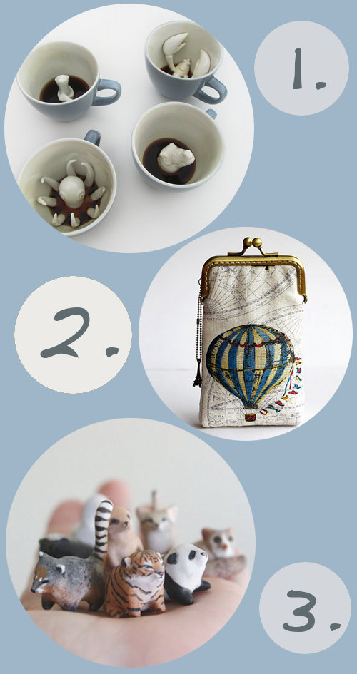 Handmade products via etsy that I'm in love with lately - Creature cups, Hot air balloon gadget case, and totem animals