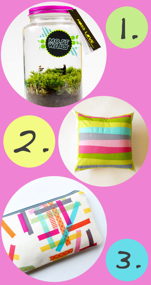Unique Fun and Bright Handmade Products to Get Excited About - Moss Wars Terrarium, Stripey Pillow, and Washi Tape Cosmetic Pouch in Neon Colors