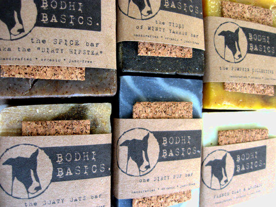 Handmade Cork Wrapped Soaps from Bodhi Basics - Homemade Soap Labeling and Packaging Idea