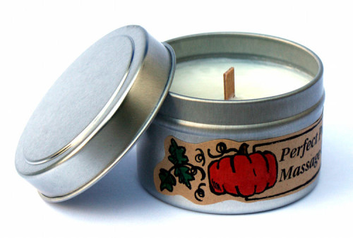 Homemade Gift Idea - DIY Pumpkin Scented Massage Candle with Wood Wick