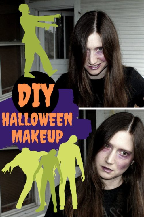 DIY Halloween Makeup. Easy zombie makeup ideas. Looking for DIY makeup ideas for your DIY Halloween costume this year? Try out this simple zombie Halloween makeup recipe for making a natural purple colored cream eyeshadow. It creates a convincing bruise or zombie death look, but with a hint of shimmer. Don't want the shimmer, just omit the mica! Then use this awesome homemade mineral makeup DIY year round as a DIY cream eyeshadow! #halloweenmakeup #zombie #diymakeup #cosmetics #halloweenideas