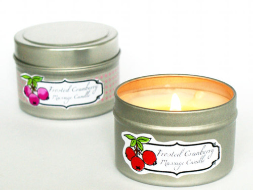 DIY Handmade Frosted Cranberry Massage Candles with Printable Labels - Lovely Homemade Christmas Gift Idea