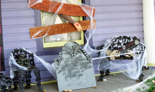 Homemade Halloween Decoration Idea - Boarded Windows, Tombstones and Spiderwebs