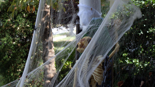 Halloween Decorations DIY - Skeleton Tangled in Faux Spiderwebs