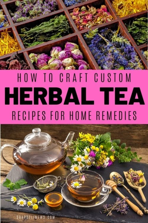 Herbal tea recipes for health and wellness. Learn the benefits of herbal tea recipes plus how to craft your own custom herbal tea blends to use as natural home remedies. Easy to customize DIY home remedies from natural herbs & botanicals. Learn the benefits of common herbs used in crafting natural home remedies plus how to make your own custom organic herbal tea recipes including medicinal teas for colds, upset stomach, digestion, detox and more. Basic herbal tea blending tutorial for wellness.
