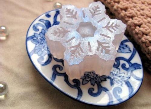 Rain Glycerin Snowflake Soap from Spooky Grrrl Bath and Body