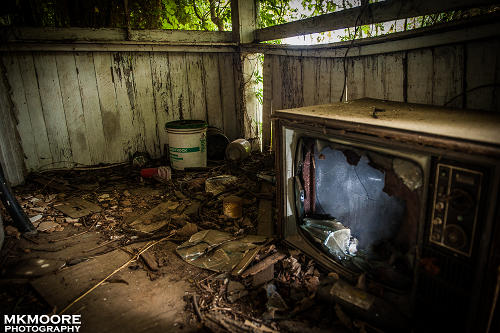 Busted Television in Abandoned Home by MKMoore Photography