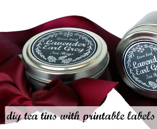 Easy Homemade Stocking Stuffer Gift Idea - Tea Tins with Printable Chalkboard Labels