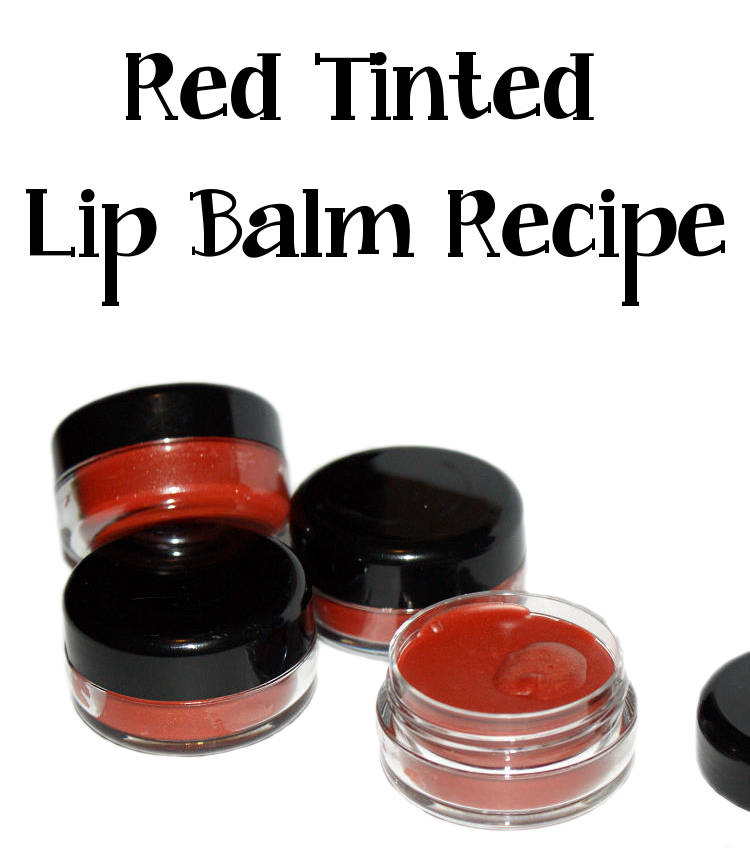 Try your hand at this easy to create perfect pout red tinted lip balm recipe! The deep red with just a hint of shimmer glides on lips and looks natural while giving lips a bit of color oomph!