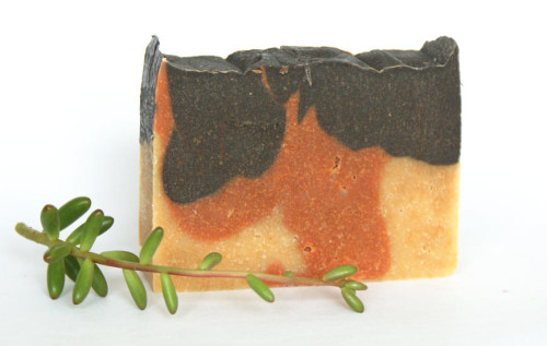 Natural Homemade Tri-Color Carrot Complexion Soap Bar with Carrot and Tomato Powders, Clays, and Activated Charcoal