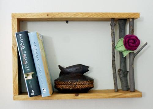 Handmade Wood Tree Branch Shelf DIY