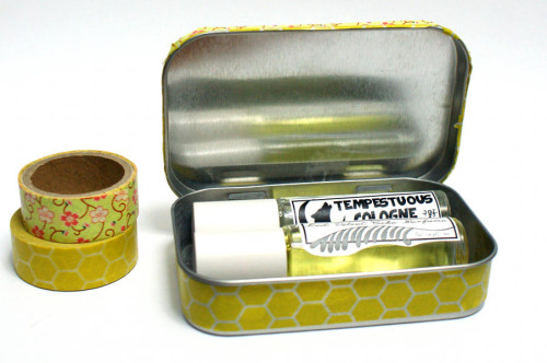 DIY Homemade Gift Ideas - Washi Tape Gift Tin Filled with Homemade Perfumes or Lip Balms