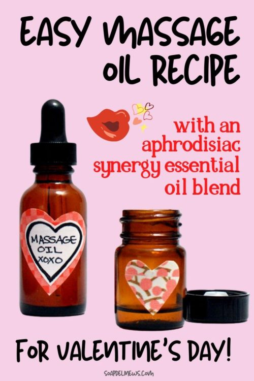Sensual Massage Oil Recipe with Essential Oils for Valentine's Day. Easy DIY Valentine's Day Gifts for Couples. Learn how to make this sensual, skin nourishing massage oil recipe for Valentine's Day! This natural massage oil recipe is an easy way to heat things up and add some extra romance to your love life! Made with an aphrodisiac synergy essential oil blend, this Valentine's Day massage oil is the perfect gift to help you and that special someone spend more quality time together.