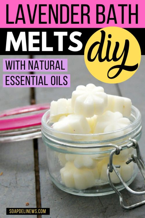 DIY bath melts with essential oils. Make more than just candles using soy wax. Try this easy DIY bath melts recipe with lavender essential oils & soy wax for your natural skin care routine.