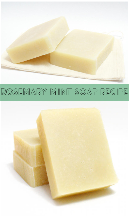 This rosemary mint cold process soap recipe combines rosemary and peppermint essential oils with natural anti-bacterial and anti-inflammatory properties.