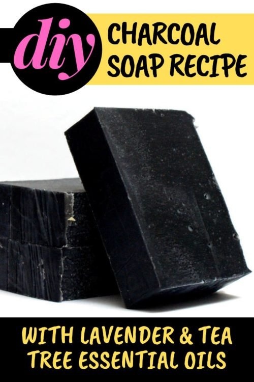 Activated charcoal soap recipe with essential oils for your natural skin care routine. A classic lavender & tea tree soap recipe for acne prone skin with the added benefits of activated charcoal. Enjoy the acne fighting benefits of activated charcoal and essential oils with this homemade beauty recipe for DIY activated charcoal soap. A natural effective home remedy for acne breakouts. Make this homemade soap recipe for your daily beauty regimen as a natural acne remedy for breakouts.