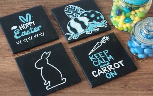 DIY Chalkboard Coasters for Easter